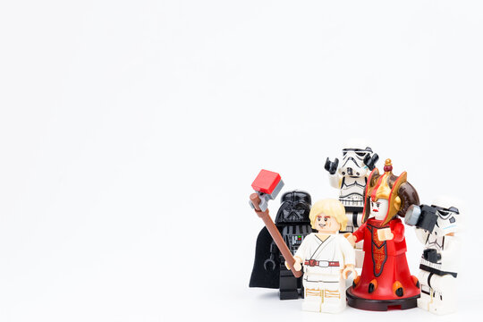 Nonthabure, Thailand - March, 23, 2018 : Lego star wars Take a photo family photo on vacation day isolated on white background.Nonthabure, Thailand