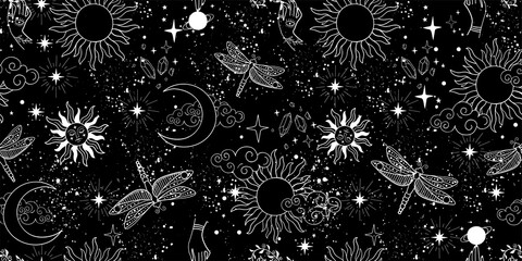 Seamless mystical pattern, universe with stars, moon and sun. Space background, magic signs and symbols. Flat vector illustration on a black background