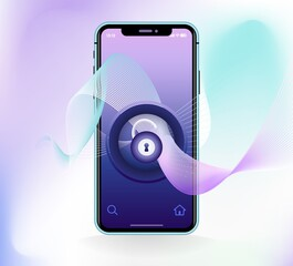 Voice id recognition lock assistant app concept. Smart technology identify. Biometric verification soundwave password. Control speech recognition. Digital system security template. Vector illustration