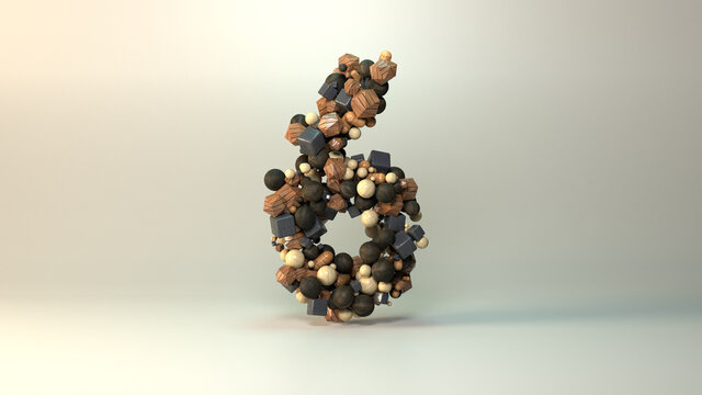 A 3D render of numbers in wood materials . Number 6