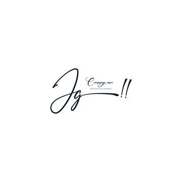 JG initials signature logo. Handwriting logo vector templates. Hand drawn Calligraphy lettering Vector illustration.