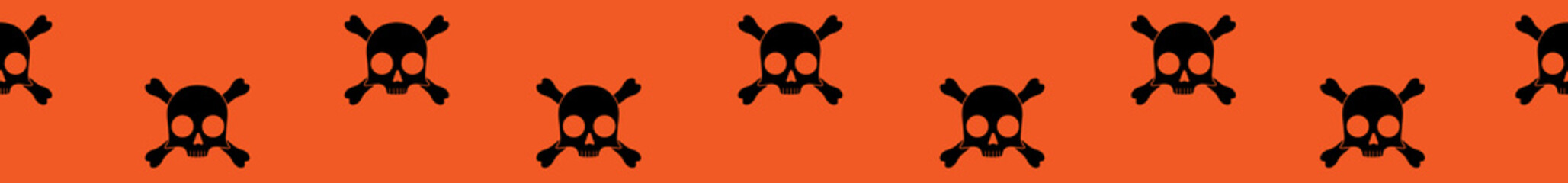Long web seamless banner with skull and crossbones icon on orange background. Vector illustration.