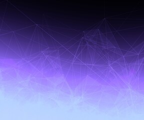 White Trippy Abstract Plexus Polygon wireframe Shapes on Purple Gradient Background. Square Web Banner 3D Illustration.