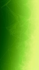 Trippy Abstract Plexus Polygon wireframe Shapes on Green Gradient Background. Phone Wallpaper Banner 3D Illustration.
