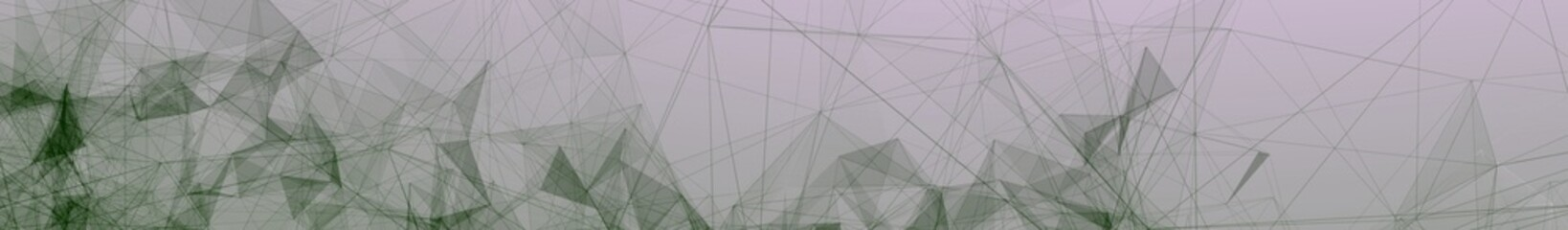 Green Trippy Abstract Plexus Polygon wireframe Shapes on Pink Gradient Background. Full Web Banner 3D Illustration.