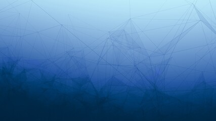 Trippy Abstract Plexus Polygon wireframe Shapes on Blue Gradient Background.