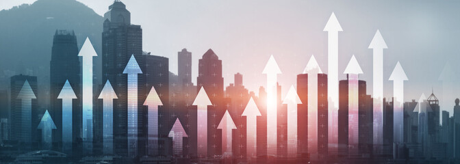 Financial growth arrow chart city view website panoramic header banner. Investment, stock trading,...