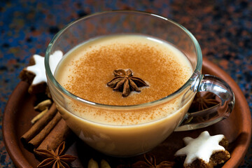 winter spicy masala tea in a glass cup