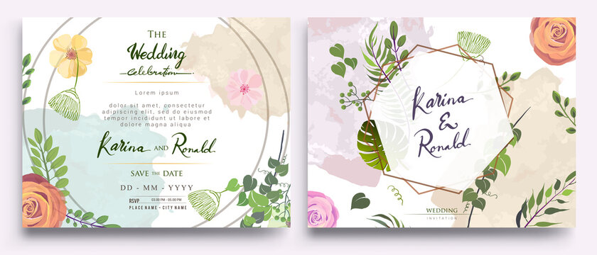 Wedding Invitation, floral invite thank you, rsvp modern card Design: green tropical palm leaf greenery eucalyptus branches decorative wreath & frame pattern. Vector elegant watercolor rustic template