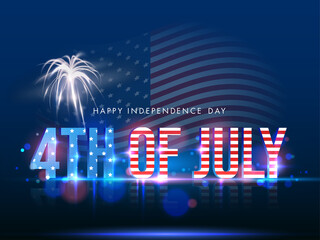 3D 4th Of July Text in American Flag Color with Firework on Shiny Blue Background for Happy Independence Day Concept.