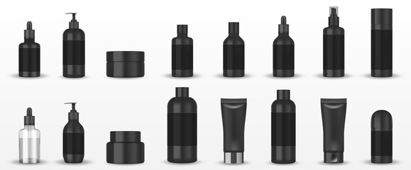 Obraz Realistic blank black cosmetic tubes isolated. Mockup cosmetic containers hand cream, shampoo, liquid soap pump, spray, oil, gel, lotion bottle. Vector - fototapety do salonu