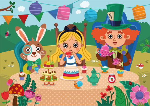 Alice's Adventures in Wonderland vector illustration. Mad Tea Party. Alice, white rabbit and Mad Hatter characters have a great time in a tea party. Colorful and fun design for Wonderland style.