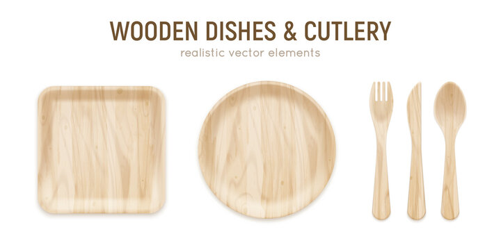 Wooden Cutlery Realistic Set