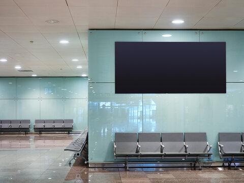 Mock up Banner digital screen display indoor waiting area Public building Airport gate
