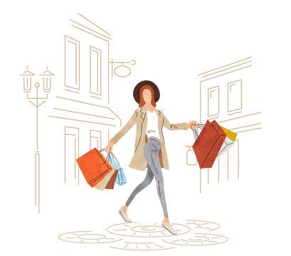 Illustration material: women shopping