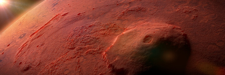 Garden Poster Brown Olympus Mons, volcano on planet Mars, largest volcano in the Solar System