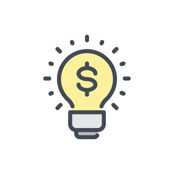 Financial Idea color line icon. Light Bulb with Dollar vector outline colorful sign.