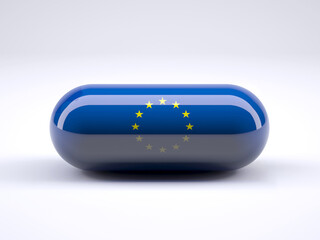 Pill with European flag wrapped around it