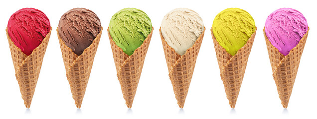 Set of various colorful tasty ice creams in waffle cones on white background.  File contains...