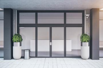 Glass door of contemporary office building.