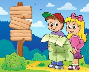 Photo sur Aluminium Enfants Children holding map theme image 4