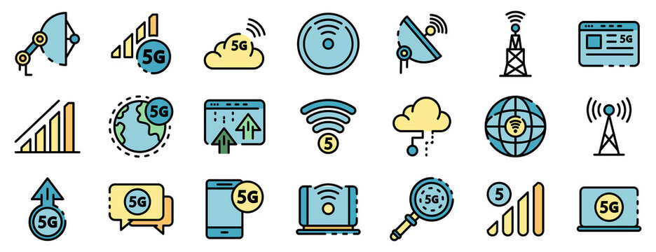 5G technology icons set. Outline set of 5G technology vector icons thin line color flat on white