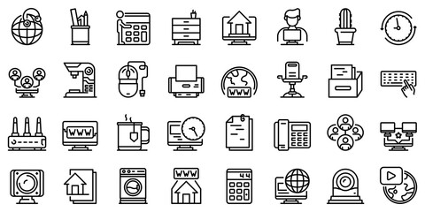 Home office icons set. Outline set of home office vector icons for web design isolated on white background