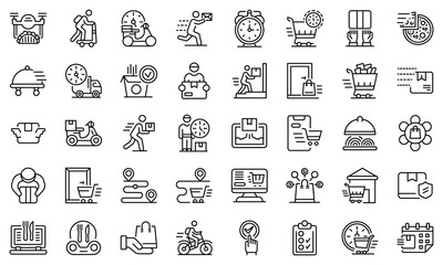 Home delivery icons set. Outline set of home delivery vector icons for web design isolated on white background