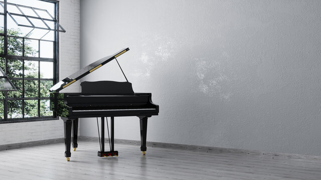 Black grand piano near white wall in empty room. 3d rendering