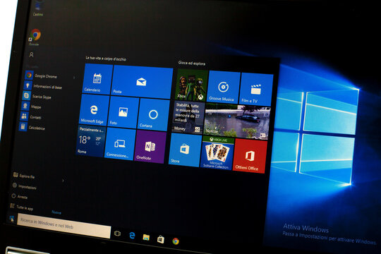 ROME, ITALY - OCTOBER 16,2015: Photo of Windows 10 running on a notebook. Windows 10 is the new version of Windows OS.