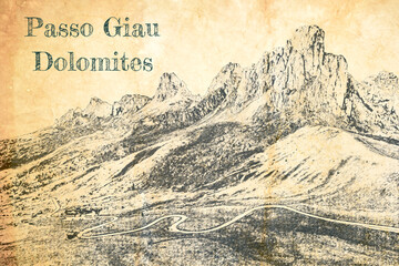 Wall Mural - Passo Giau at night, Dolomites, sketch on old paper