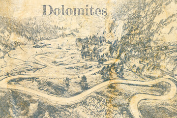 Wall Mural - Serpentine at Passo Gardena in Dolomites, sketch on old paper