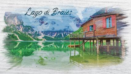 Wall Mural - Watercolor painting of Lago di Braies in Dolomites