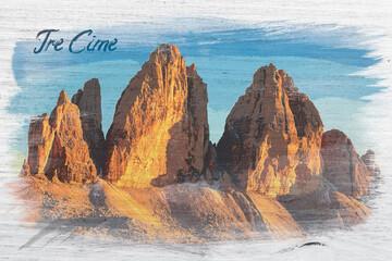 Wall Mural - Watercolor of Tre Cime di Lavaredo in Dolomites