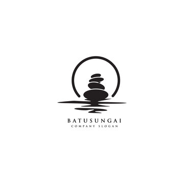stone rock balancing logo design spa and wellness vector inspiration