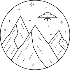 UFO flies over the mountains at night. Graphic illustration