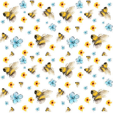 Bees and flowers watercolor print, seamless pattern in yellow and blue on white background, looks nice on fabrics, home textile, wrapping paper and kids clothes
