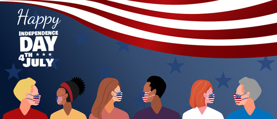 American USA flag with diverse group of people wearing face mask.