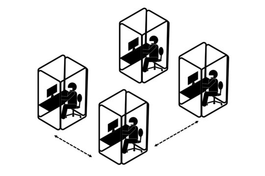 Stick figure wearing mask working in office box, social distancing concept.