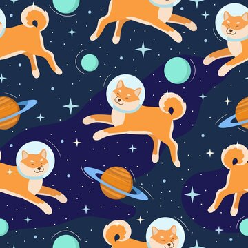 Cute shiba inu dog astronaut in open space. Seamless pattern. Colorful cosmic background with animals, planets, stars. Vector illustration for textile, wallpaper, wrapping, nursery.