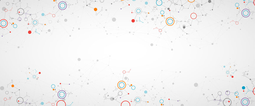 Geometric abstract background with connected line and dots. Futuristic digital background for science and technology.