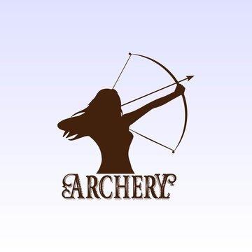 Woman Bow Archery Silhouette Sport Club Logo Design Vector