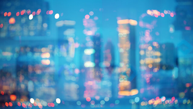 Blurred bokeh Chicago abstract cityscape skyline background