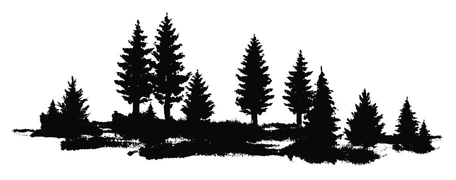 Vector composition Forest silhouette landscape. Black and white isolated elements Element for design.