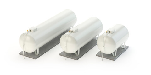 Gas Tanks collection isolated on white - 3d illustration