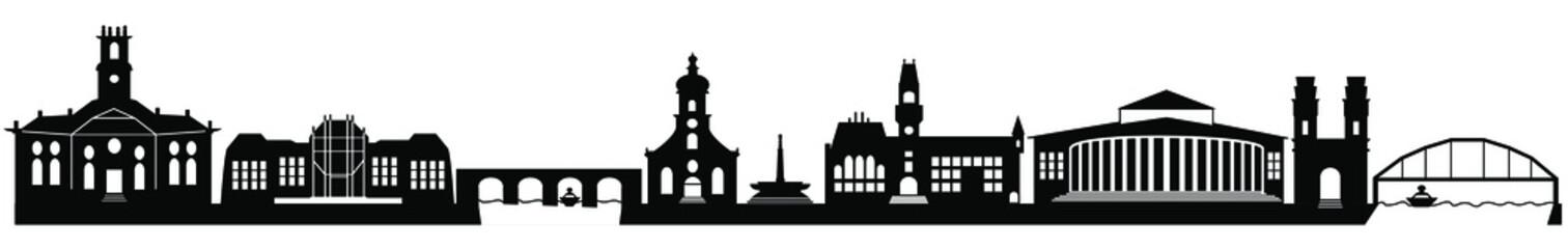 Silhouette von Saarbrücken Fotobehang