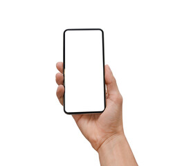 Hand holding a modern smartphone, isolated with blank screen