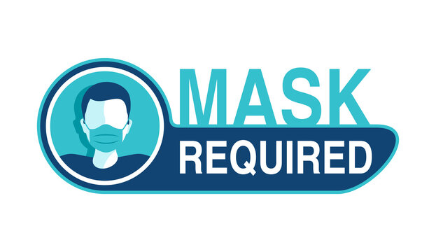 Mask required warning prevention sign - human profile silhouette with face mask in creative rounded frame - isolated vector information picture