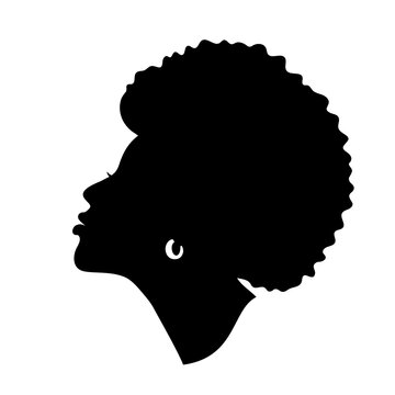 Silhoette of african american woman. Beautiful black girl profile. Vector design isolated on white.
