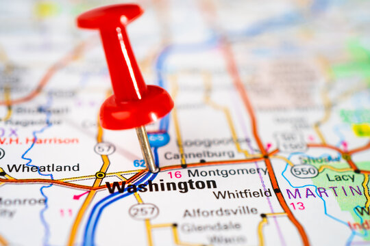 Bangkok, Thailand, June 1, 2020 Washington, road map with red pushpin, city in the United States of America USA.